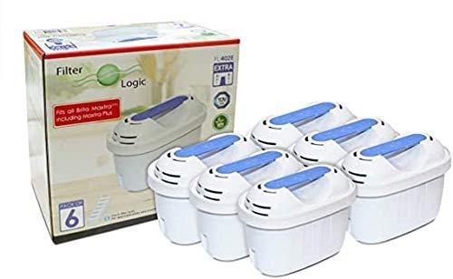 FilterLogic FL402E | Pacco da 6 - Cartuccia filtrante compatibile con Brita Maxtra+ Plus filtro acqua per caraffa fill&enjoy Marella Style Flow Elemaris Fun - BWT Penguin - Tassimo