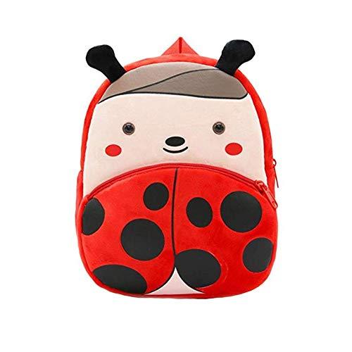 TrifyCore Nette Kind-Kleinkind-Rucksack-Plüsch-Karikatur-Tier Marienkäfer-Rucksack Mini Schultasche für Kinder Alter 2-4 Jahre alt