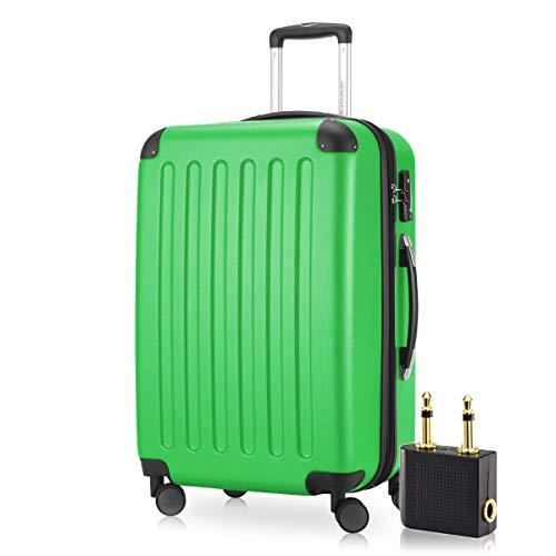 Hauptstadtkoffer - Spree Hartschalen-Koffer Koffer Trolley Rollkoffer Reisekoffer Erweiterbar, 4 Rollen, TSA, 65 cm, 74 Liter, Apfelgrün +Flugzeug Audio Adapter