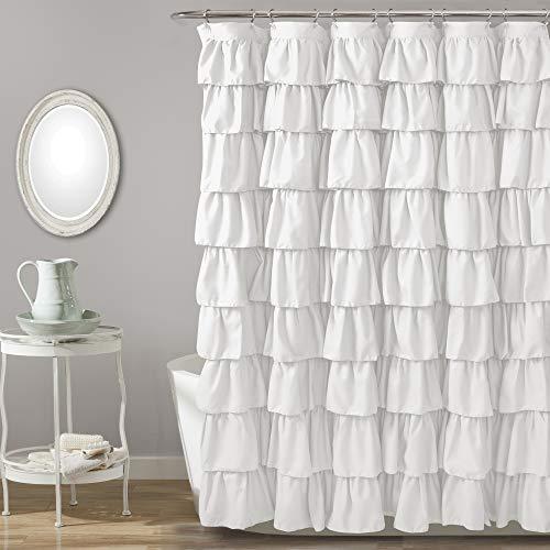 Lush Decor, White Ruffle Shower Curtain | Floral Textured Shabby Chic Farmhouse Style Design, x 72