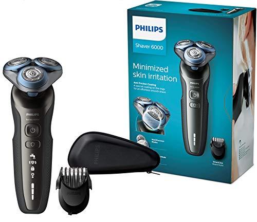 Philips S6640/44 Elektrischer Nass- und Trockenrasierer mit MultiPrecision-Schersystem, SmartClick-Bartstyler und Reiseetui