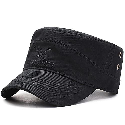 HASAGEI - Cappello militare da uomo, regolabile, in cotone, stile vintage Nero piatto. Taglia unica