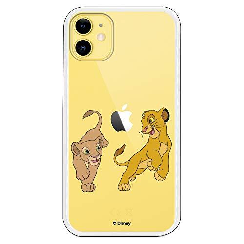 Funda para iPhone 11 Oficial de El Rey León Simba y Nala Jugando para Proteger tu móvil. Carcasa para Apple de Silicona Flexible con Licencia Oficial de Disney.