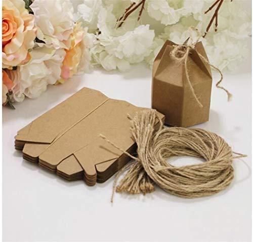 ZANGAO 50 Unids/Set Paquete Creativo de Papel Kraft Caja de Cartón Linterna Hexágono Craft Gift Caja de Dulces Caja de Papel de Embalaje (Color : 1)