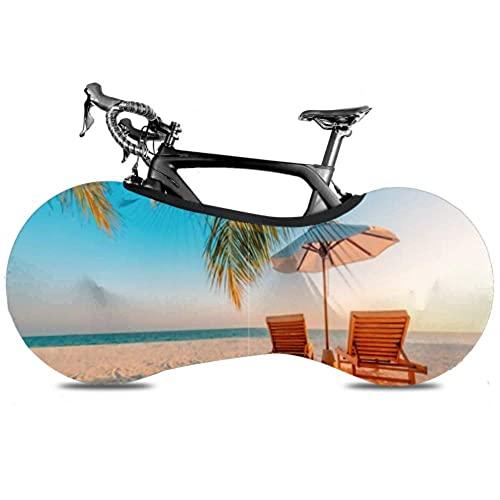 Cubierta de rueda de bicicleta Escena de playa tranquila Exotic Troal Landscape - Bolsa de almacenamiento interior para bicicletas a prueba de rayones, lavable, paquete de neumáticos de alta elastic