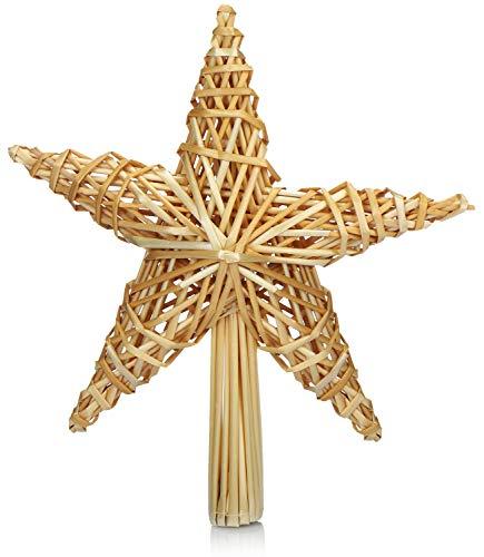 com-four® Christbaumspitze als Weihnachtsbaumschmuck aus Stroh - Strohstern-Spitze für den Weihnachtsbaum - Christbaum-Schmuck - natürlicher Christbaum-Behang