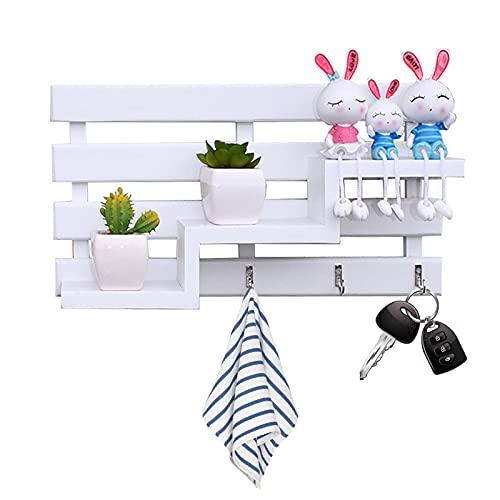 CYJZHEU Colgador de llaves con estante para uso variado - organizador de llaves en metal resistente mate con detalles en madera de nogal - con práctico estante para correo, revistas y celulares