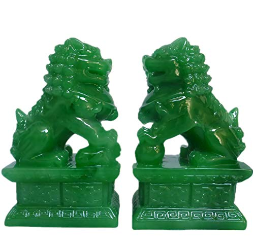 Feng Shui Porsperity 2 PCS Fu Foo Dogs Pair of Green Guardian Lion Statues Best Housewarming Congratulatory to Ward Off Evil Energy Home Feng Shui Decor (Green)