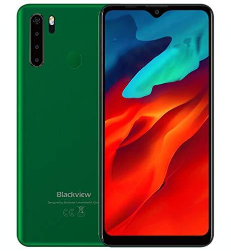 Blackview A80 Pro Budget-Handy ohne Vertrag Ggünstig, 6,49 Zoll HD + Bildschirm, Helio P25 4GB+64GB, Quad-Rückfahrkamera, 4680 mAh Akku, 8,8 mm Dicke, Android 9.0 Dual-SIM-Smartphone 4G, GPS, Grün