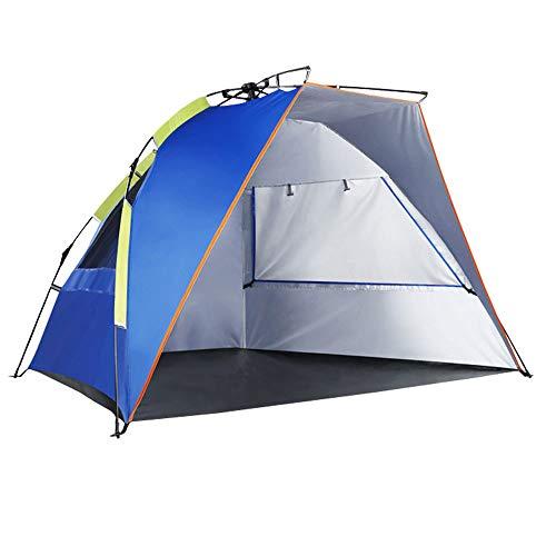 Komplett Automatisch Regenfest Zelt, Schnell öffnen Sonnenschutz Strandzelt mit Sandsack, für Strandfest Familie Garten Camping BBQ, Blau
