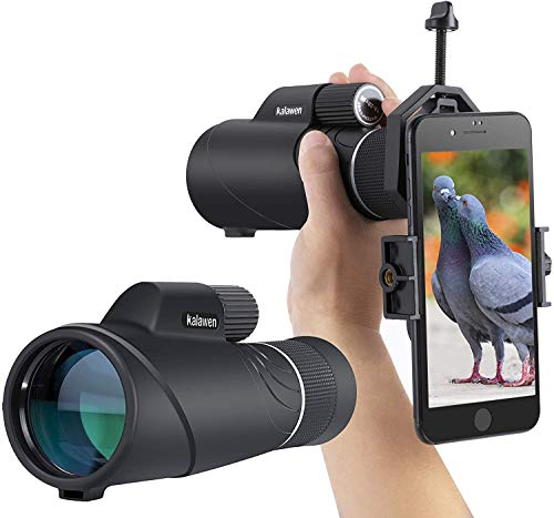 10-20x50 Kalawen Zoom Monocular Telescope Compact with Smartphone Holder and Tripod, Waterproof Monocular with BAK4 Prism Scope for Bird Watching Hunting Camping Shooting Range Hiking