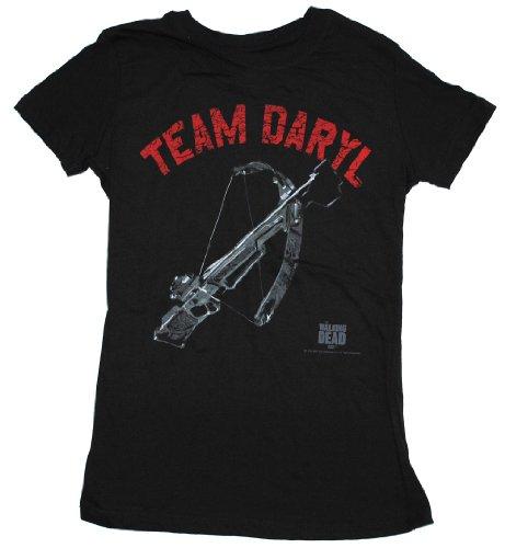 Walking Dead Junior's Team Daryl Dixon Crossbow T-Shirt, Black, Medium