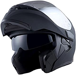 1Storm Motorcycle Modular Full Face Helmet Flip up Dual Visor Sun Shield: HB89 Matt Black XL(23.2-23.6 inch)