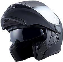 1Storm Motorcycle Modular Dual Visor Sun Shield Flip up Full Face Helmet: HB89 Matt Black Size Large
