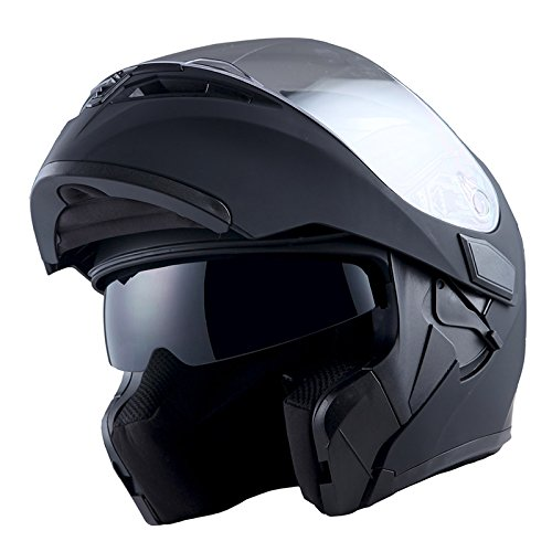 1Storm Motorcycle Modular Full Face Helmet Flip up Dual Visor Sun Shield: HB89 Matt Black; Size M (55-56 CM,21.7/22.0 Inch)