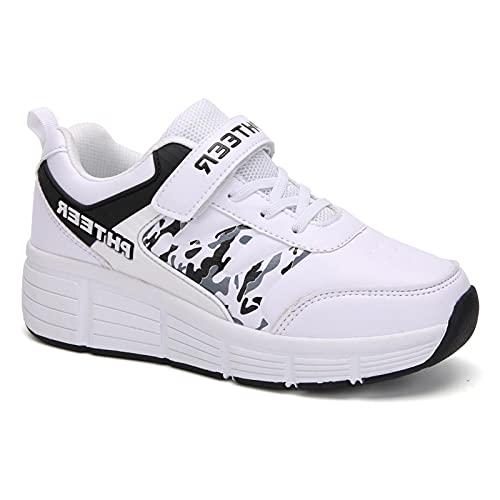 XRDSHY Niños Unisex Zapatillas De Patinaje Zapatos LED De Carga USB De Entrenador Deportivo Convertidos En Extraíbles para Niños Y Niñas,White-36