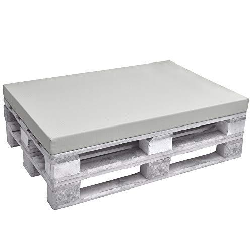 Beautissu ECO Pure Cojines de exterior para banco Canape Euro Palette - Asiento - 120x80x8cm - Gris claro