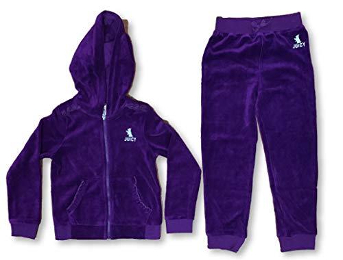 Juicy Couture Girl's 2 Piece Hooded Zip Jacket Pants Velour Track Set Plum (6)
