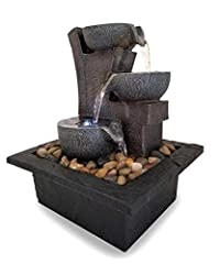 Includes 3 tiered meditaiton fountain with LED light Water pump, fountain base, and decorative stones included 6' power cord with AC wall adapter (low voltage transformer listed to US and Canadian UL standards) The Aura meditation fountain is a styli...