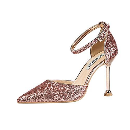 DEBAIJIA Donna Scarpe col Tacco Paillettes 9CM Tacco Alto Scarpe da Sposa Festa 36 EU Rosa Oro (Dimensione Tag-36)