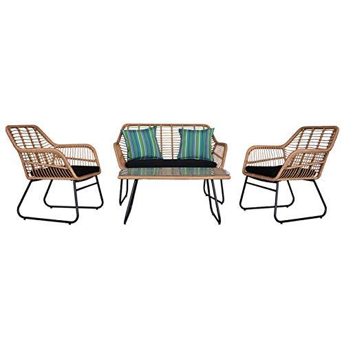 Winne Muebles-Mimbre mesa y silla conjunto-al aire libre de la mesa y la silla juego-4 patio set-Silla de ratán-Para patio trasero porche piscina césped, etc.