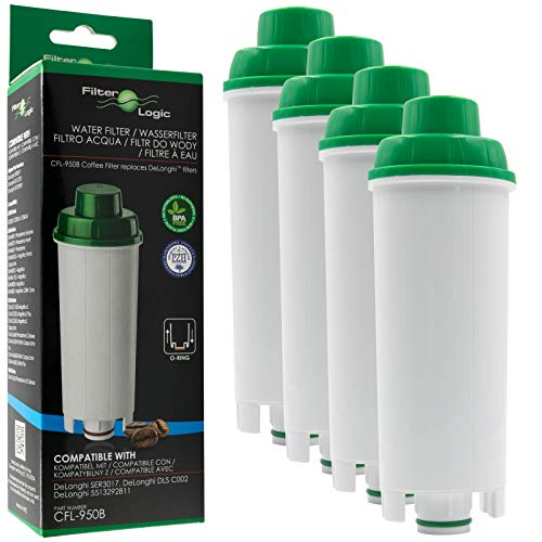 FilterLogic CFL-950B | Wasserfilter kompatibel mit DeLonghi DLS C002, DLSC002 Filterpatrone für Maestosa, Primadonna, Magnifica, Dinamica, Eletta, Autentica, ECAM Kaffeevollautomaten (4er Pack)