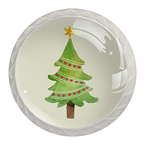 Manijas para gabinete de árbol de Navidad rojo con forma de corazón, aspecto blanco, 4 unidades, 35 mm, para armarios de cocina, aparadores, armarios, armarios