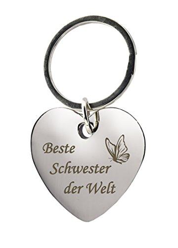 """Beste Schwester Schlüsselanhänger aus hochwertigem Metall, in Herz Form mit Gravur, Mit""""Beste Schwester der Welt"""" als eingraviertem Schriftzug"""