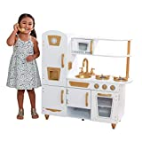 KidKraft Exclusive Edition Modern White Play Kitchen with Gold Accents & 27Piece Cookware