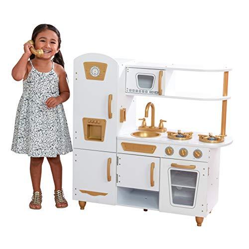 KidKraft- Cocina de juguete en color blanco (Modern White) con detalles en dorado y kit de accesorios con 27 utensilios de cocina , Color Blanca (53445)