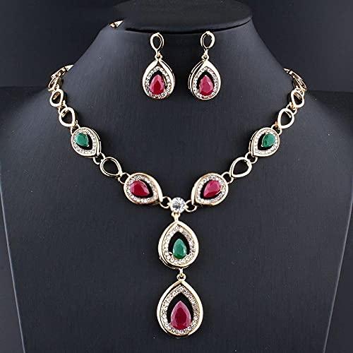 KUNHAN Juegos de Joyas Mujer India Joyas de Boda Conjuntos de joyería de Dama de Honor Mujeres Joyería Collar Pendientes Set Droplets de Agua Color Dorado
