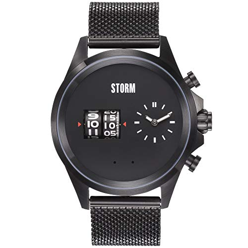 STORM London Kombitron, Unisexuhr, Barrel-Movement, 3 bar Wasserdicht, Edelstahlgehäuse, Mesh Armband (Slate)