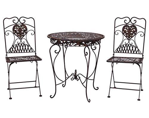 aubaho Gartentisch + 2X Stuhl Eisen Antik-Stil Bistromöbel Gartenmöbel braun