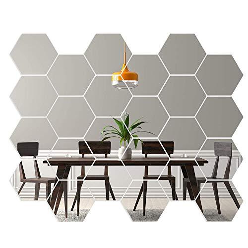 Gsyamh Adhesivo De Pared De Espejo Hexagonal Espejo Hexagonal 3D