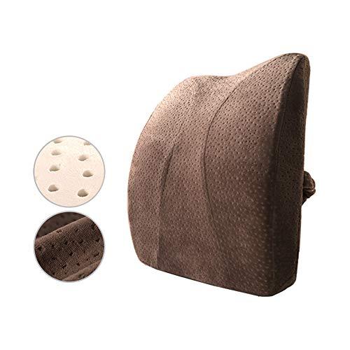 Yulo Emulsión ergonómica del cojín del Respaldo de la Cintura, emulsión, Almohada Lumbar de Alto Grado, Asiento de Oficina en el hogar, Coche,Marrón,35x42x8cm