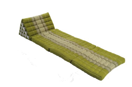 Handelsturm Thaikissen mit riesigem Dreieck, Thaimatte mit Füllung aus Kapok, Tagesbett mit Dreieckskissen, Sitzsack Kissen grün