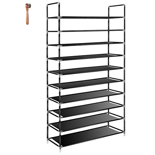 TomCare 10 Tier Shoe Rack 50 Pairs Shoe Organizer Shoes Storage Shoe Shelf Shoe Tower - No Tools Required Non-woven Fabric for Home Bedroom, Black