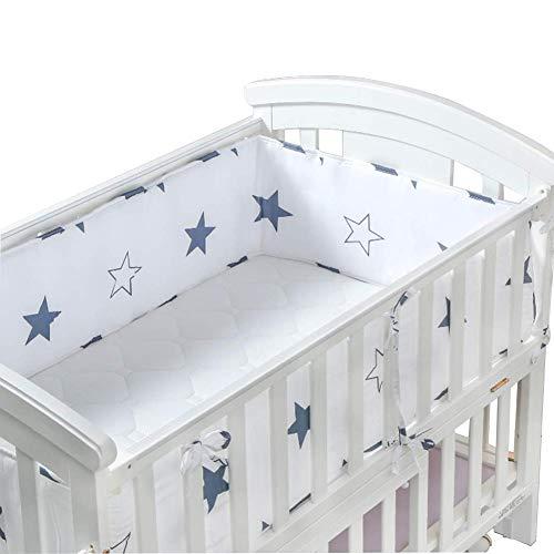 Yoommd Protector de cabeza para cuna de bebé, 210 x 28 cm, protector para la cabeza, cuna, cuna, cuna, cuna, acolchado, suave (color blanco)