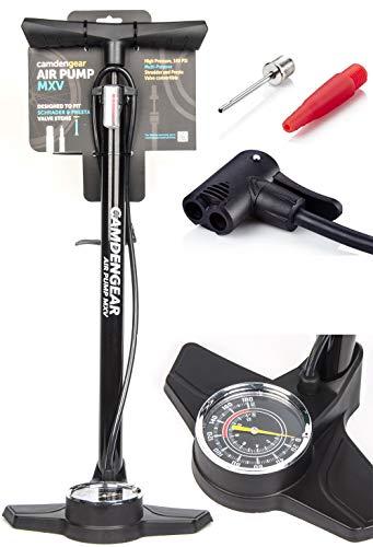 Camden Gear Fahrradpumpe, Luftpumpe für Fahrrad mit Alle Ventile z.B. Französisches und Auto Ventil, Standpumpe mit Manometer Fahrradluftpumpe Adapter