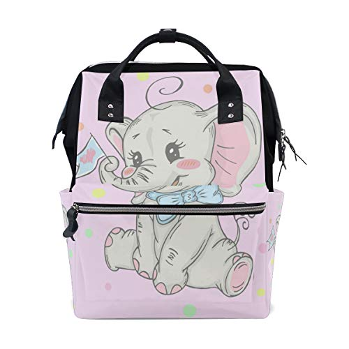 Bardic Lovely Baby Elephant Diaper Bag Backpack Multi-Function Organizer Large Capacity Waterproof Durable Nappy Bags for Mom Dad Women Men