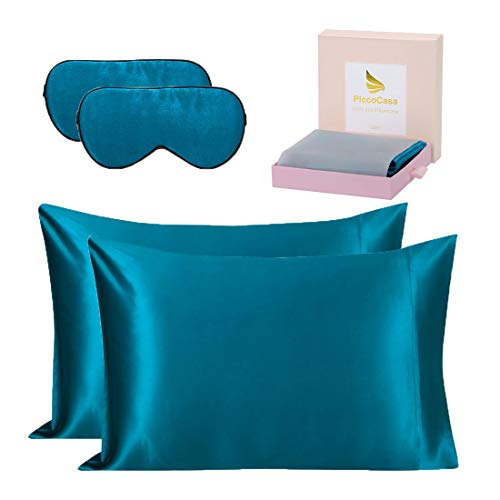 PiccoCasa 2Pcs Silk Pillowcases +2Pcs Silk Eye Cover for Hair and Skin,Both Sides 19 Momme Silk with Envelope Closure Silk Slip Cover, Best Gift Set with Gift Box Peacock Blue King