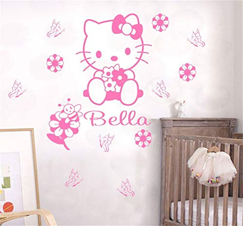 Umondon Wall Decal Quote Words Lettering Decor Sticker Wall Vinyl Custom Name Cartoon Hello Kitty Kids Nursery Room Personalized Words for Girls Children Room