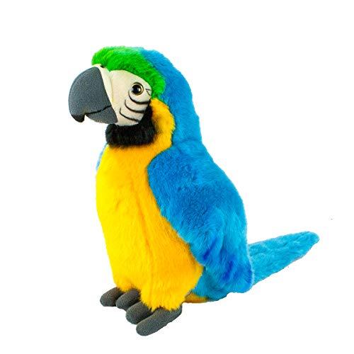 Teddys Rothenburg Kuscheltier Papagei stehend blau/gelb/grün 26 cm Plüschpapagei Plüschvogel by Uni-Toys