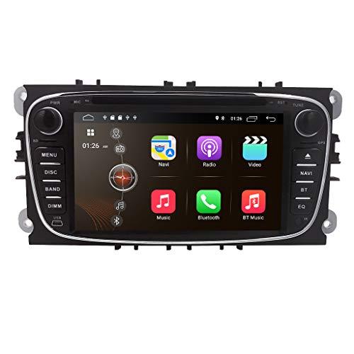 hizpo Android 10 Autoradio Stereo DVD-Player Kopfeinheit 7 Zoll Touchscreen In Dash GPS DVD-Player Unterstützung 4G WiFi USB SD CAM-IN OBD2 DAB + DVR für Ford Mondeo S-max Focus Galaxy C-max