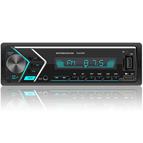 Single Din Car Stereo Receiver with Dual Bluetooth Audio, Hands-Free Calling Car Radio,FM Radio Receiver,Built-in Microphone,USB/TF Card/Aux-in Wireless Remote Control with 7 Color Backlight
