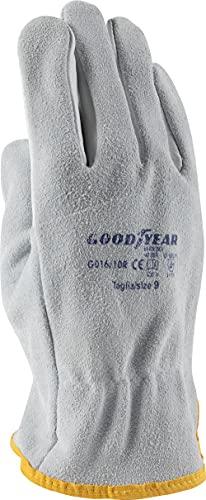 Goodyear Guanti in pelle pieno fiore e crosta mod.G016/10R taglia 9 bianco Lavoro