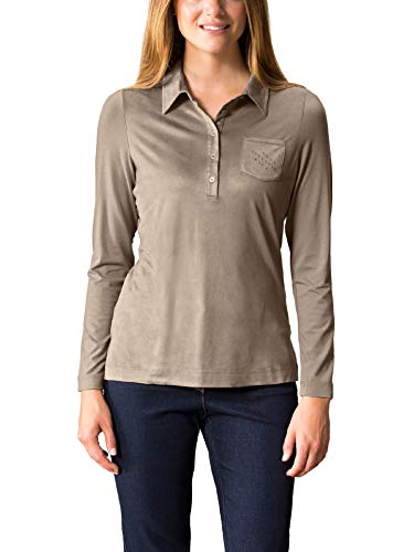 Walbusch Damen Poloshirt Softskin einfarbig Beige 46