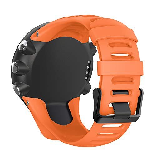 Silikon Ersatz Armband Zubehör Uhrenarmband Armband mit Schrauben Kompatibel für Suunto Ambit 1/2 / 2S / 2R / 3 Sport / 3 Run / 3 Peak Smartwatch (Orange)
