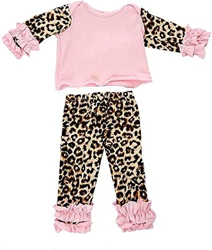 XinYiC Ropa de muñeca para muñecas americanas de 18 pulgadas accesorios de disfraz - Leopard manga larga camiseta con volantes pantalones trajes