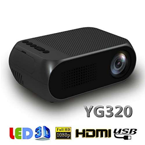 💎Mini Projector LED Mini Projector Full HD 1080P Supported Pocket Video Projector, Compatible with PC TV DVD iPhone iPad USB TF AV HDMI, Outdoor Projector for Home Theater Movie Machine (Black)